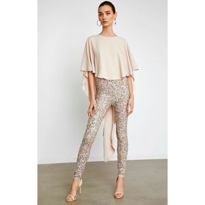 NWT BCBG HIGH-LOW SEQUIN CAPLET JUMPSUIT S